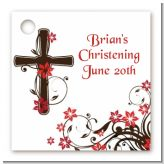 Cross Floral Blossom - Personalized Baptism / Christening Card Stock Favor Tags