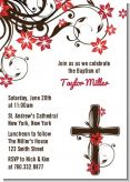 Cross Floral Blossom - Baptism / Christening Invitations