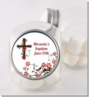 Cross Floral Blossom - Personalized Baptism / Christening Candy Jar