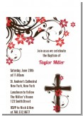 Cross Floral Blossom - Baptism / Christening Petite Invitations