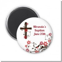 Cross Floral Blossom - Personalized Baptism / Christening Magnet Favors