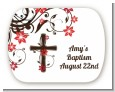 Cross Floral Blossom - Personalized Baptism / Christening Rounded Corner Stickers thumbnail