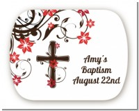 Cross Floral Blossom - Personalized Baptism / Christening Rounded Corner Stickers
