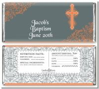 Cross Grey & Orange - Personalized Baptism / Christening Candy Bar Wrappers