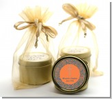 Cross Grey & Orange - Baptism / Christening Gold Tin Candle Favors