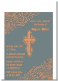 Cross Grey & Orange - Baptism / Christening Petite Invitations