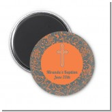 Cross Grey & Orange - Personalized Baptism / Christening Magnet Favors