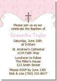 Cross Pink - Baptism / Christening Invitations
