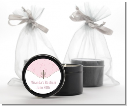 Cross Pink - Baptism / Christening Black Candle Tin Favors