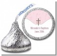 Cross Pink - Hershey Kiss Baptism / Christening Sticker Labels thumbnail