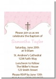 Cross Pink - Baptism / Christening Petite Invitations