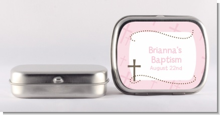 Cross Pink - Personalized Baptism / Christening Mint Tins