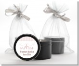 Cross Pink Necklace - Baptism / Christening Black Candle Tin Favors