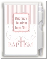 Cross Pink Necklace - Baptism / Christening Personalized Notebook Favor