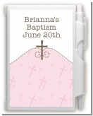 Cross Pink - Baptism / Christening Personalized Notebook Favor