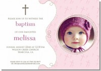 Cross Pink Photo - Baptism / Christening Invitations