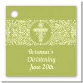 Cross Sage Green - Personalized Baptism / Christening Card Stock Favor Tags