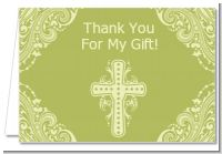 Cross Sage Green - Baptism / Christening Thank You Cards