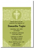 Cross Sage Green - Baptism / Christening Petite Invitations