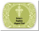Cross Sage Green - Personalized Baptism / Christening Rounded Corner Stickers