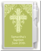 Cross Sage Green - Baptism / Christening Personalized Notebook Favor
