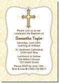 Cross Yellow & Brown - Baptism / Christening Invitations