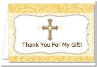 Cross Yellow & Brown - Baptism / Christening Thank You Cards