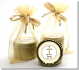 Cross Yellow & Brown - Baptism / Christening Gold Tin Candle Favors