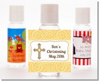 Cross Yellow & Brown - Personalized Baptism / Christening Hand Sanitizers Favors