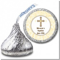 Cross Yellow & Brown - Hershey Kiss Baptism / Christening Sticker Labels