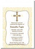 Cross Yellow & Brown - Baptism / Christening Petite Invitations