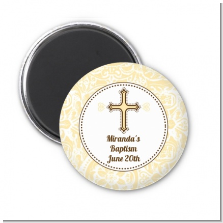 Cross Yellow & Brown - Personalized Baptism / Christening Magnet Favors