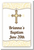 Cross Yellow & Brown - Custom Large Rectangle Baptism / Christening Sticker/Labels