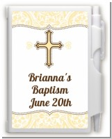 Cross Yellow & Brown - Baptism / Christening Personalized Notebook Favor