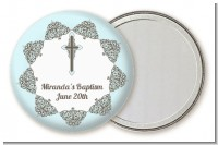 Cross Blue & Brown - Personalized Baptism / Christening Pocket Mirror Favors