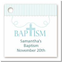 Cross Blue Necklace - Personalized Baptism / Christening Card Stock Favor Tags