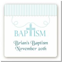 Cross Blue Necklace - Square Personalized Baptism / Christening Sticker Labels
