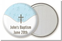 Cross Blue - Personalized Baptism / Christening Pocket Mirror Favors
