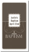 Cross Brown Necklace - Custom Rectangle Baptism / Christening Sticker/Labels