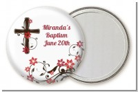 Cross Floral Blossom - Personalized Baptism / Christening Pocket Mirror Favors