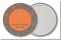 Cross Grey & Orange - Personalized Baptism / Christening Pocket Mirror Favors