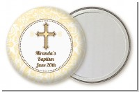 Cross Yellow & Brown - Personalized Baptism / Christening Pocket Mirror Favors