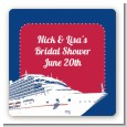 Cruise Ship - Square Personalized Bridal Shower Sticker Labels thumbnail
