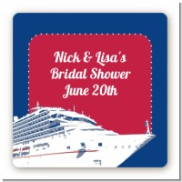Cruise Ship - Square Personalized Bridal Shower Sticker Labels