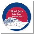 Cruise Ship - Round Personalized Bridal Shower Sticker Labels thumbnail