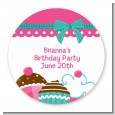 Cupcake Trio - Round Personalized Birthday Party Sticker Labels thumbnail