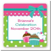 Cupcake Trio - Square Personalized Birthday Party Sticker Labels