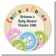 Cute As a Button - Round Personalized Baby Shower Sticker Labels thumbnail