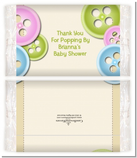 Cute As a Button - Personalized Popcorn Wrapper Baby Shower Favors