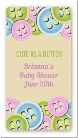 Cute As a Button - Custom Rectangle Baby Shower Sticker/Labels